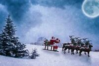Christmas Santa Clause Sleigh Reindeers Giant Poster - A5 A4 A3 A2 A1 A0 Sizes