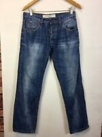 Mens Blue Denim Jeans Stretch Straight W32 Short