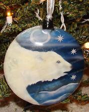 Polar Bear Capiz, Shell Hanging Ornament (Kubla Crafts, 1645E) Hoiday, Christmas