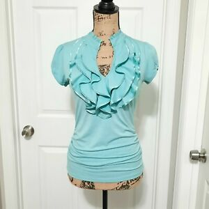 Ladies heartsoul Ruffle Short Sleeve Blouse (Size Medium Fits Small)