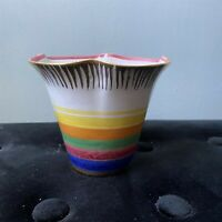 Vintage Planter Italy Hand Painted Succulent Scalloped Rainbow Gold Trim