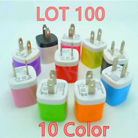 100 Color 1A USB Power Adapter AC Home Wall Charger US Plug for iPhone Universal