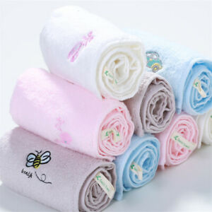 100% Cotton Bath Towel Embroider Animal Pattern Cleaning Washcloth For Children
