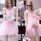Elegant Soft Summer Casual Women Chiffon Sleeveless Maternity Pregnant Dress KN