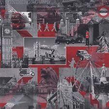 Muriva Wallpaper 102509 - Brittania London Black / White / Red NEW!!!
