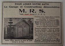 Publicité ancienne Garage démontable automobile MRS 1932, advert