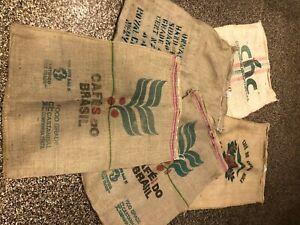 Lot of 5 Burlap Bags, Green Coffee Bean Bags, Gunny Sack Coffee Bags, Colorful.