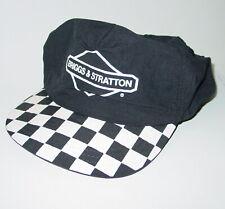 Vintage Hat Cap Nylon Briggs & Stratton Checkerboard Black Snapback