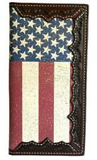 3D Western Mens Wallet Tooled Rodeo Leather Distressed Flag Inlay Brown W841