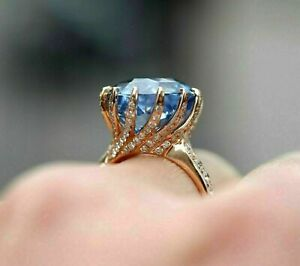 3.80Ct Round Cut Blue Tanzanite Solitaire Engagement Ring 14K Rose Gold Finish