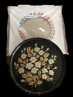 VTG Russian Hand Painted Floral Black Metal Tray Signed Original Packaging 15""