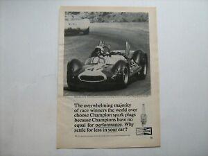 1964 Champion Spark Plug's vintage ad w/Bruce McLaren's Olds-powered Cooper race
