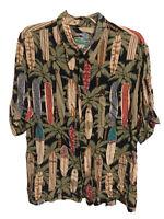 Reyn Spooner Surfboard Print Rayon Vintage Hawaiian Shirt - Mens XL