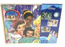 Disney Wood Puzzles Set of 3 Storage Box Container 24 Pieces Each Puzzle