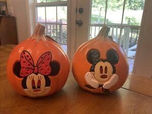 "Disney 6"" Mickey & Minnie Mouse Lights Battery Jack O'Lantern Pumpkins NEW w/tag"