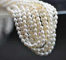 "4-5mm Genuine Natural White Rice Freshwater Pearl Loose Beads 15"" Strand DIY"