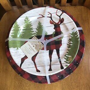Cynthia Rowley Christmas Melamine Dinner Salad Plate Set Buffalo Plaid Deer 8pc