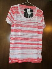 Ladies Onque Casual Embellished Red and White Tee Shirt Size PXL New
