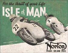 Norton Motorcycles-Isle Of Man Grand Prix TIN SIGN Vintage Garage Poster Decor