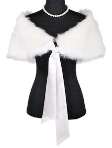IVORY Faux Fur Bridal Wedding Shrug/Bolero/Cape/Evening Wrap/Shawl/Tippet/Coat