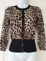Womens Karen Millen Black Brown Animal Leopard Popper Fastening Knit Cardigan 2.