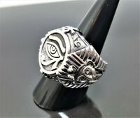 STERLING SILVER 925 Eye of Horus Ancient Egyptian Symbols of Life Ankh Ring