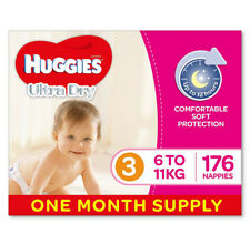 Huggies Ultra Dry Nappies, Girls, Size 3 Crawler (6-11kg), 176 Count, One-Month