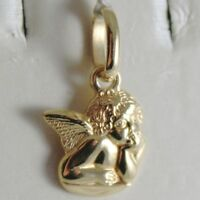 PENDANT MEDAL YELLOW GOLD 750 18K ANGEL GUARDIAN, INCISION, MADE IN ITALY