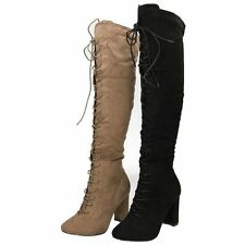 Faux Suede Textured Knee High Women's Boots