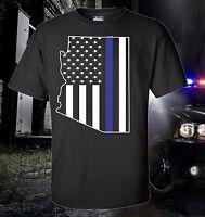 Arizona Thin Blue Line Flag Police Law Enforcement T-SHIRT USA America Phoenix
