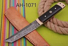 HAND FORGED DAMASCUS STEEL TANTO POINT HUNTING KNIFE & HORN HANDLE AH-.1071