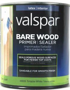 1 Can Valspar 32 Oz Bare Wood 48935 Tintable White Latex Interior Primer Sealer