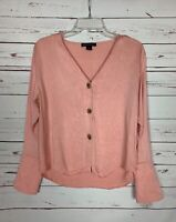 Something Navy Women's S Small Pink V Neck Button Long Sleeve Spring Top Blouse