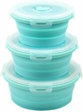 SET OF 3 silicon collapsible Mixing Bowls W / Lid Microwave safe food containers
