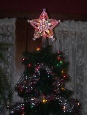 CHRISTMAS MULTI LIGHT UP LIGHTED BUBBLE PEARL STAR CRYSTAL BEAD TREE TOPPER TOP