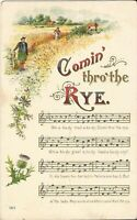 Robert Burns Poem - Comin' thro'the Rye - EMBOSSED -  Music, Score, Scotland