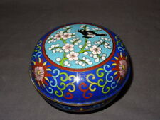 Vintage Chinese Cloisonne On Copper Lidded Pot/Bowl - Bird/Flowers