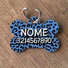 Medaglietta PERSONALIZZATA cane forma di osso NOME telefono leopardata blu