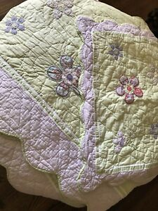 Pottery Barn Kids Queen Quilt And 2 Shams Green Lavender Daisy Garden Party EUC