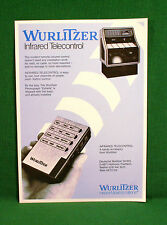 Original Wurlitzer Jukebox Infrared remote volume control Brochure