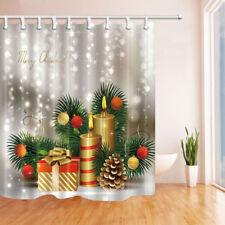 "Christmas Gift Box Candle Tree Bathroom Fabric Shower Curtain 71""x71"" & 12 Hooks"