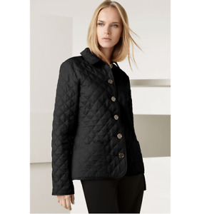 Burberry Brit M 8 10 Quilted Jacket Black Metal Buttons Pockets Reflective New