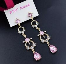 Crystal Drop Earrings Fashion Jewelry New Betsey Johnson rare Alloy Rhinestone