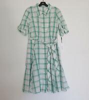 NWT Calvin Klein Big Plaid in Green Cotton Tie Waist Button Down Shirt Dress 10