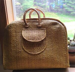 extra-large rattan tote wicker woven bag purse beach travel straw vintage boho