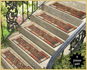 Rubber Stair Step Treads Mats Stone and Pebbles Outdoor Porch Traction - Choices
