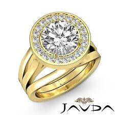 Beautiful Round Diamond Engagement Halo Ring GIA F VS1 18k Yellow Gold 1.9ct