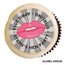 ❤ 24 Taza Personalizado Cake Topper | Hen Noche Despedida de Soltera hacer los labios | nombre de cualquier