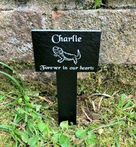 Personalised Slate Pet Memorial Grave Marker Stake Plaque Bearded Dragon Lizard