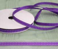 Grosgrain Stitched 6mm  Purple  Ribbon - 20 metres